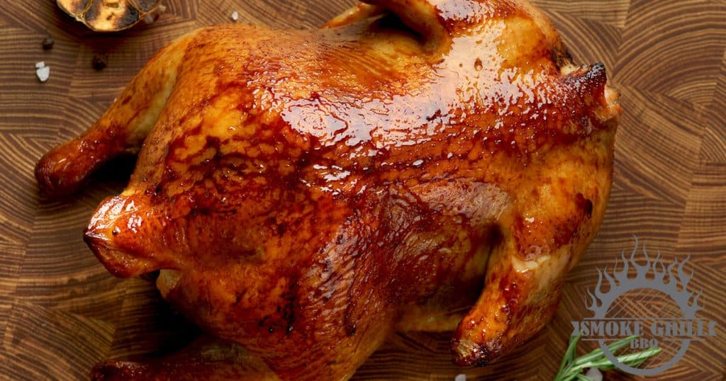 Brined and smoked whole chicken